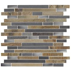 American Olean Delfino Glass Stainless Dream Mixed Material (Stone/Glass/Metal) Mosaic Indoor/Outdoor Wall Tile (Common: 12-in x 12-in; Actual: 12-in x 12-in)