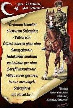 Atatürk'ümüzun her vecizesinî  Vizyon ve dehası nı perçinleyen olayların tanıkılığında  yaşayarak hazmetmekteyiz..Ne demişlerdi bir musibet bin nasihate bedeldir..Huzur içinde uyu Paşam bu yüce Millet daima senin nasihatlerini kanıyla canı yla uygulamaya ahd etmiş bir hazır ordudur zarar gören yiğit kumandanlarının yardımına kosacaktir.. Great Leaders, World Leaders, My Idol, Feelings, Movies, Movie Posters, Film Poster, Films, Popcorn Posters