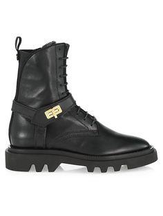 Givenchy Eden Lug-Sole Leather Combat Boots | SaksFifthAvenue