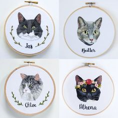 The perfect gift for the cat lover in your life, whether it be you, or a friend! These custom cat portrait embroidery hoops are also a great way to honor a beloved cat that has passed as a memorial. This is a listing for one custom detailed embroidery of your cat! Find the matching dog listing here! https://www.etsy.com/listing/221214418/detailed-custom-dog-embroidery-gift-for Other details can be added like pet names, flowers, wreaths, etc. Each embroidery will come with its frame and…