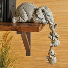 Collections Etc Elephant Sitter Hand-Painted Figurines - Set of Mother and Two Babies Hanging Off The Edge of a Shelf or Table Elephant Decoration, Elephant Home Decor, Elephant Art, Elephant Sculpture, Baby Elefant, Little Buddha, Collections Etc, Classic Home Decor, Elephant Figurines