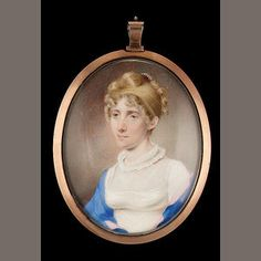 Henry Edridge (British, 1769-1821)  A Lady, her blonde hair upswept in curls and with pearl comb, wearing white dress with double ruff collar and pink edged blue shawl