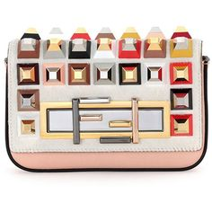 Fendi Baguette Mini Studded Fur Crossbody Bag ($2,580) ❤ liked on Polyvore featuring bags, handbags, clutches, purses, borse, fendi, white multi, fendi handbags, hand bags and crossbody purses