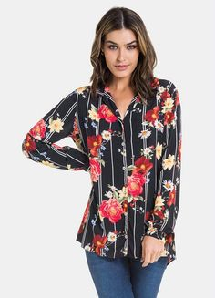 Camisa Tecido Estampada Floral Preto