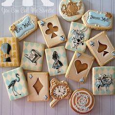 Gorgeous Alice in Wonderland decorated cookies by @youcancallmesweetie on Instagram.