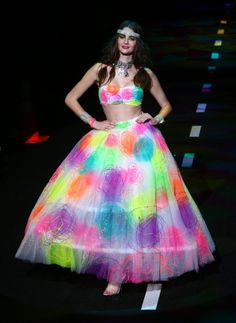 Betsey Johnson.  S/S 2011 Runway Show.  Paint-splash-prom-experiment-gone-right.