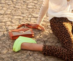 neon wedges and cheetah leggings