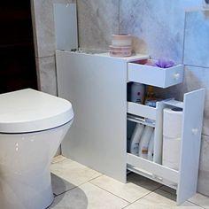 Bathroom Organiser Cupboard Cabinet White Wooden Toilet Roll Toiletries Storage for sale online Slimline Bathroom Storage, Bathroom Under Sink Cabinet, Bathroom Storage Units, Bathroom Floor Cabinets, Bathroom Organisation, Bathroom Furniture, Bath Storage, Vanity Cabinet, Office Furniture