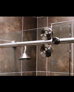 Cool bathroom hardware and bathroom decor can include your shower door. Re-Bath Omaha offers custom shower doors that have a barn door type track so that your shower door can provide some design interest as well. Custom Shower Doors, Bathroom Hardware, Types Of Doors, Amazing Bathrooms, Door Handles, Track, Barn, Ideas, Design