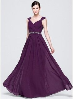 A-Line Princess V neck Floor Length Chiffon Prom Dress With Ruffle Lace Beading Sequins