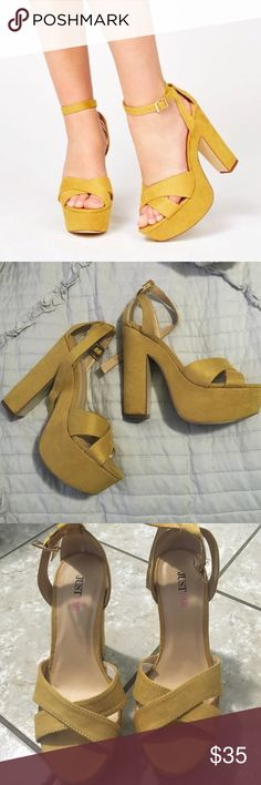just fab mustard platforms super cute platforms in mustard. great for a pop of color on your outfit :) just wore them in the house to break them in, but they ended up being a tad too high for me to walk in. so, they're in almost new condition. no damage anywhere on them whatsoever. :) about 5inch heel & about 2inch bottom platform JustFab Shoes Platforms
