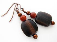 Woodland+brown+beaded+dangle+earrings+boho+chic+by+bdavisSynergy,+$9.00