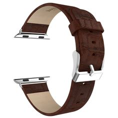 For Apple Watch 38MM Genuine Leather Watch Band Strap With Buckle Brown