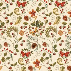 Windham Wild Woods Cream Butterfly Floral 1/2 Yard Fabric for Quilting 41122-1