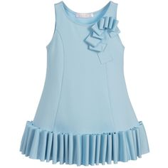 Soft and comfortable for girls to wear, this blueKate Mack & Biscottidress is made from neoprene jersey and it has a unique ruffle hem. It is an easy to wear dress, as it simply pulls-on over the head.
