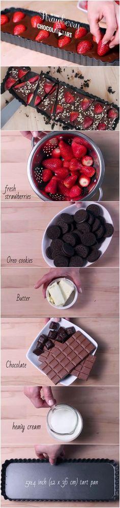 Easy no-bake Strawberry Chocolate tart More