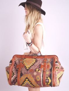 Vintage Southwest Navajo Kilim Leather Weekender