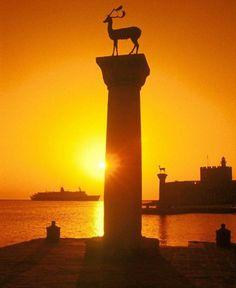 Sunset in Rhodes Town Rhodes Greece