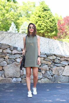 feminine military look with adidas sneakers camila coelho