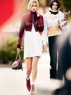 Gigi wearing a Dior bomber jacket, Calvin Klein Collection dress, Louis Vuitton bag, and Michael Kors booties and Kendall wearing a Calvin Klein Collection sweater and collar and Céline trousers and holding her sister Kylie Jenner's dog, Norman! Justin Bieber Kendall Jenner, Kendall Jenner News, Kylie, Kardashian Jenner, Style Gigi Hadid, Dior Boutique, Prada, Mario Testino, Gucci