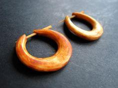 Handarbeit Goa Creolen echtes Holz Ohrringe
