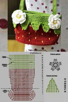 crochet strawberry handbag chart