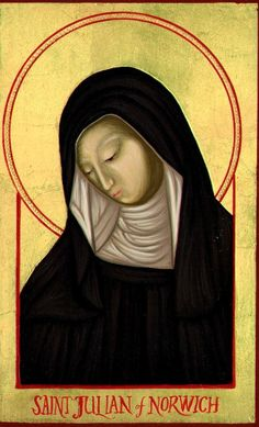 Julian of Norwich was an English anchoress and mystic. In the Revelations of Divine Love, written around 1393, she explores  the theological meaning of her visions. It is believed to be the earliest surviving book written in English by a woman. http://en.wikipedia.org/wiki/Julian_of_Norwich