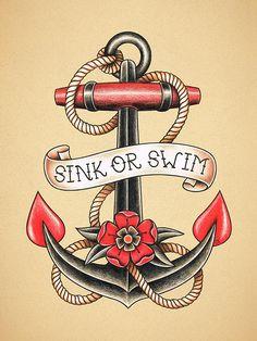 Anker. Old School Tattoo print.