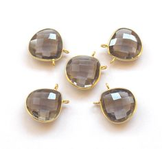 5 Pcs Christmas Sale Smoky Quartz 925 Sterling Silver Connector, 15X15 mm Heart / Handmade Pendant / faceted Connector (PJ4254PJ) by PlantofJewel on Etsy