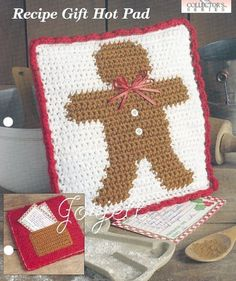 Gingerbread Man Recipe Gift Hot Pad,--would make a nice gift could make it scented too Christmas Toys, Christmas Knitting, Christmas Projects, Handmade Christmas, Christmas Kitchen, Crochet Christmas, Gingerbread Crafts, Gingerbread Man, Holiday Crochet Patterns