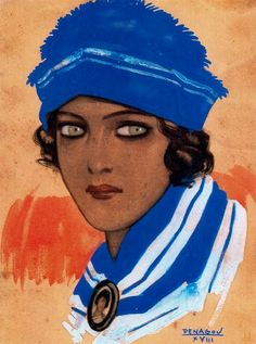 By Rafael de Penagos (1889-1954). He was a Spanish painter and he was the creator of the Spanish Art Deco illustration.