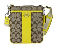 """Price: $125.00   Coach Legacy Signature Swingpack Light Khaki Lemon #Crossbody #Bag   24"""" shoulder drop, 8.5"""" high, 0.5"""" wide, The front features a gorgeous silver tone Coach signature button, Two roomy exterior slip pockets, Zip top opens to a center compartment lined in yellow sateen, Color: Light Khaki Lemon / Silver Hardware, H: 8.50 in x W: 0.50 in x L: 7.50 in 24,"""