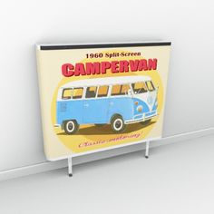 Sixties retro mustard yellow with campervan illustration