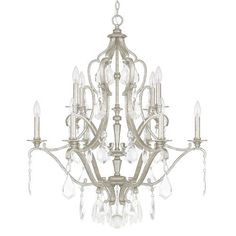 Capital Lighting Fixture Company Blakely Antique Silver Ten Light Chandelier With Clear Crystals On SALE
