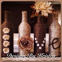 "Set of handmade ""love"" wine bottles.  Made by me!!"