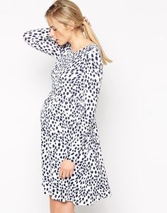 maternity dress in black and white animal spotty print
