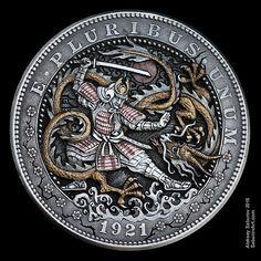 Hand Engraving Art by master-engraver Aleksey Saburov. Old Coins, Rare Coins, Custom Coins, Coin Design, 3d Cnc, Hobo Nickel, Coin Art, Bullion Coins, Samurai Art