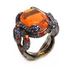 A Fire Opal and Multi-Gem Snake Ring, by Lorenz Bäumer