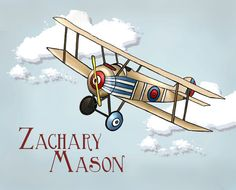Vintage Airplane Personalized Childrens Art by PebblesPrints, $15.00