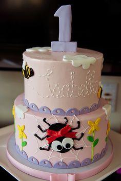 1st birthday party, itsy bitsy spider, alison eden, polkadots bakery, pink, purple