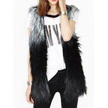 Color Block Fashionable Style Fur Sleeveless Women's Vest