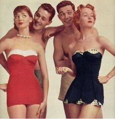 Vintage 1950s swimsuits.  I can't even imagine how one of those would look on me-gasp!