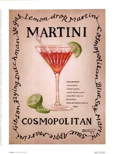 Cosmopolitan, an original painting, personally by artist Janet Kruskamp showing a clear single stem martini glass with a green olive, stirrer and lemon twist. The recipe for a dry martini is next to the glass. Cocktail Drinks, Alcoholic Drinks, Beverages, Pink Cocktails, Cocktail Mix, Liquor Drinks, Cocktail Ideas, Cosmopolitan, Cocktail Recipes
