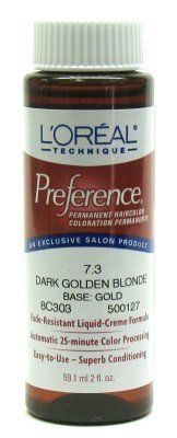 L'Oreal Preference Color # 7.3 Dark Golden Blonde (3-Pack) with Free Nail File. Translucent, soft color results. Fade-resistant, conditioning formula. Automatic 25-minute color processing. Superb conditioning - 100% gray coverage.