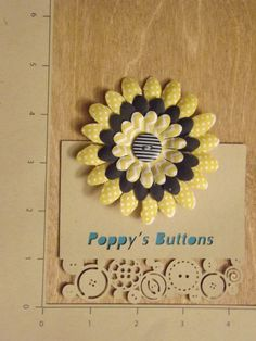 Black, Yellow and White Button Flower Barrette/Pin by PoppysButtons on Etsy