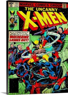 Comic Wall Art of Wolverine X-Men Cover on Canvas