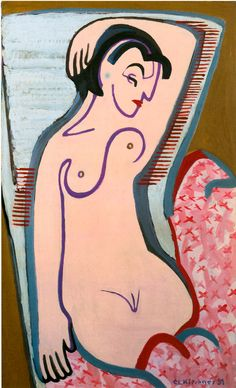 Ernst Ludwig Kirchner, Reclining Female Nude, 1931 - Oilpainting