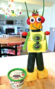 How to Make A Robot with Fruits and Vegetables: My Life and Kids Anna had a special day with her 7-year-old son Miles by making a Robot full of fresh fruits and vegetables. With a step-by-step guide and a side of Marzetti Veggie Dip, it'll be the perfect creation for your next birthday party!