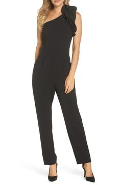 d33c46e10b40 Eliza J One-Shoulder Ruffle Jumpsuit (Regular   Petite)