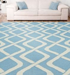 $5 Off when you share! Homespun Trellis HK100 Blue Rug | Contemporary Rugs #RugsUSA